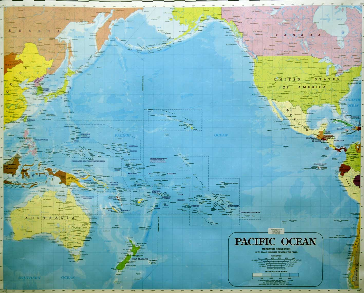 Pacific Ocean Topographic Map.Maps Of The South Pacific Ocean