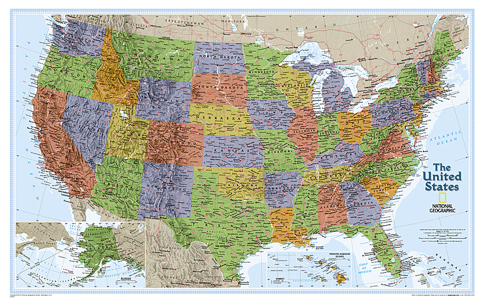 Geographical United States Map.International Wall Maps