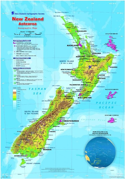 Geographic New Zealand map