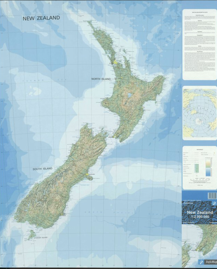 Physical Map Of New Zealand.New Zealand Physical Map
