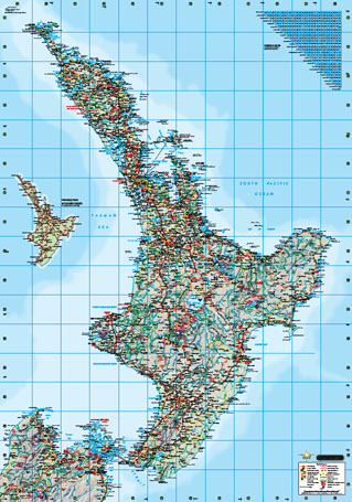 New Zealand North Island Road Map.North Island Wall Maps