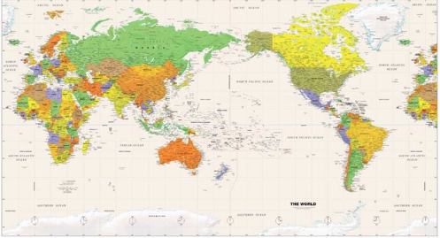 Map Of Australia And New Zealand With Capitals.Wall Maps Of The World