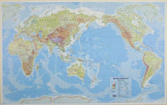 Wall maps of the world map title physical world shows map cover publisherhema style physical political on reverse centred pacific colour pastel shades size 1010 x 635mm gumiabroncs Images