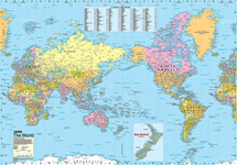 Wall Maps Of The World - Green and blue world map