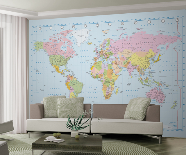 Wall mural map blue for Blue world map mural