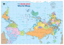 map le upside down world publisher hema style political centred pacific colour bright size 840 x 595mm folded 12 90 laminated 29 90