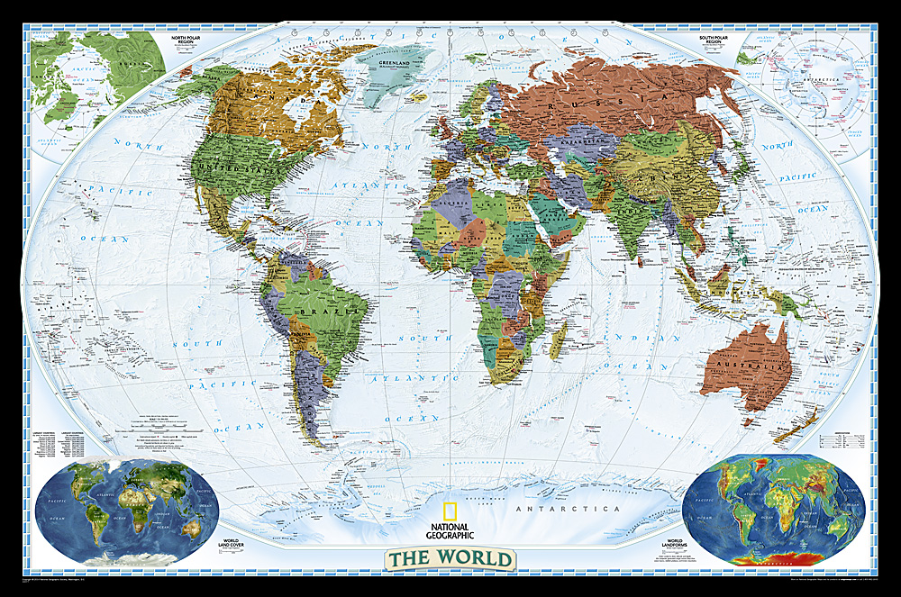National Geographic World Map Murals.Wall Maps Of The World